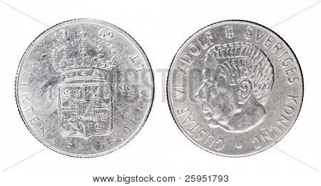"Swedish 1 Krona aka ""Crown"" coin from 1969 with King Gustaf VI Adolf of Sweden. poster"