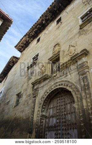 Stately Home In Uncastillo. It Is A Historic Town And Municipality In The Province Of Zaragoza, Arag