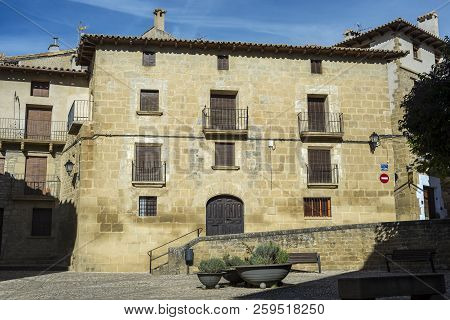 Traditional Architecture In Uncastillo. It Is A Historic Town And Municipality In The Province Of Za