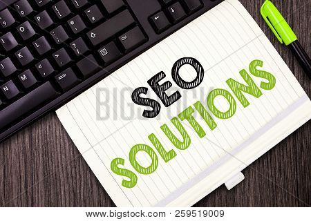 Text Sign Showing Seo Solutions. Conceptual Photo Search Engine Result Page Increase Visitors By Ran
