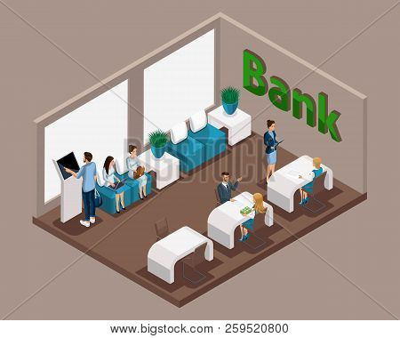 Isometric Office Of The Bank, Bank Employees Serve Customers, Electronic Queue, Waiting Room, Bank C