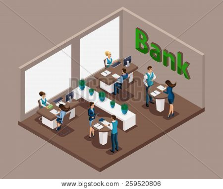Isometric Office Of The Bank, Bank Employees Serve Customers, Issuance Of Loans, Credit Cards, Depos