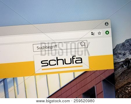 Amsterdam, The Netherlands - September 22, 2018: Website Of Schufa Holding Ag, A German Protection C