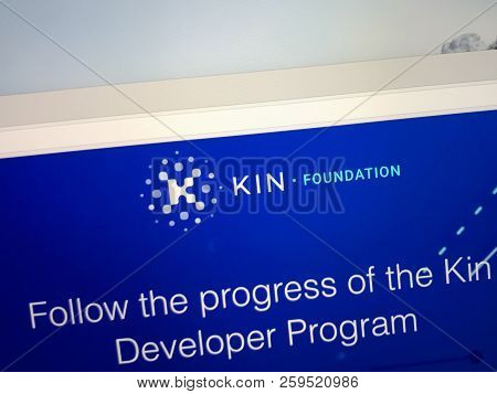 Amsterdam, The Netherlands - September 22, 2018: Website Of The Kin Token, A Digital Cryptocurrency.