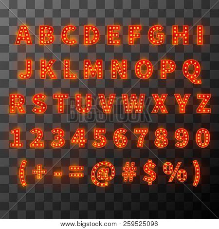 Lighting Bulb Font, Bright Alphabet In Cabaret Style