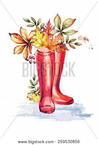 Rainboots And Autumn Leaves. Watercolor Hand-drawn Illustration