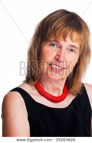 Beautiful  Portrait Of A Mature Businesswoman Enjoying Life,  Isolated Over White