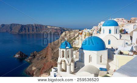Oia village in Santorini island, Greece.