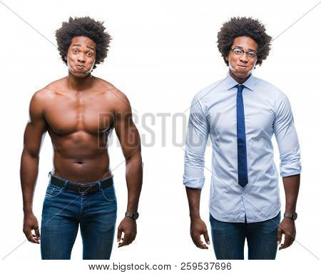 Collage of african american shirtless and business man over isolated background puffing cheeks with funny face. Mouth inflated with air, crazy expression.