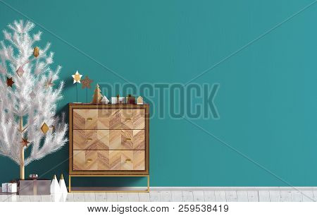 Modern Christmas interior with dresser and Christmas tree, Scandinavian style. Wall mock up. 3D illustration poster