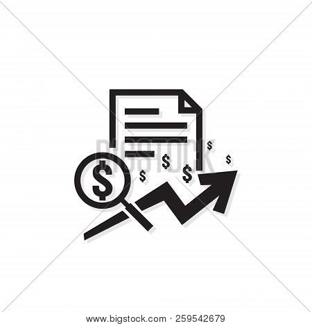 Dollar Increase Revenue Icon. Money Symbol With Arrow Stretching. Business Finance Cost Sale Symbol.