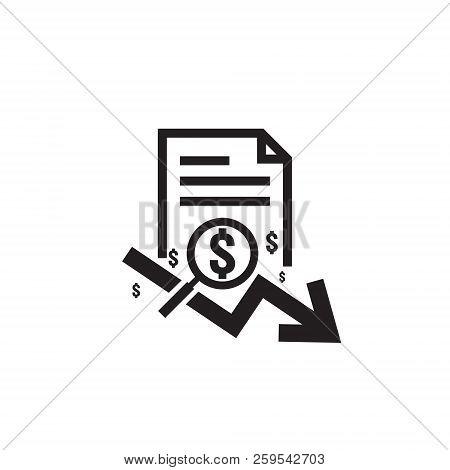 Dollar Arrow Decrease Rate Icon. Money Arrow Symbol. Economy Stretching Rising Drop Fall Down. Busin
