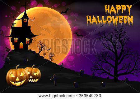 Happy Halloween Night Background With Haunted Scary House And Full Moon