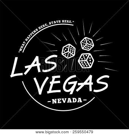 Las Vegas. Black And White Logo Design. Decorative Inscription. Las Vegas Vector And Illustration.
