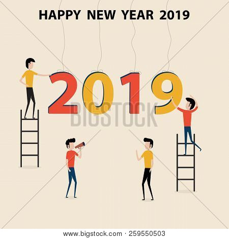 Business People Cartoon Character & Happy New Year 2019 Concept.happy New Year 2019.2019 Happy New Y