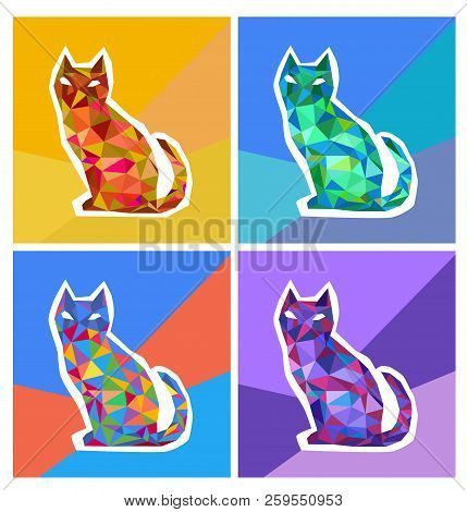 Abstract Polygonal Colored Cats. The Geometric Figure