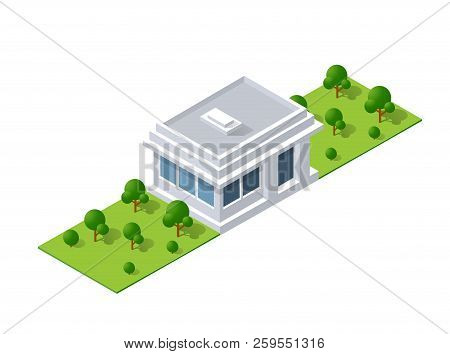 Isometric Landscape Design. Vector Illustration Isolated For