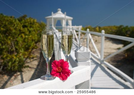 Champagne Glasses Ready For A Caribbean Destination Wedding Celebration