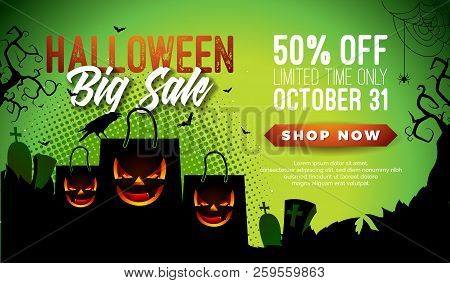 Halloween Sale Vector Banner Illustration With Scary Faced Shopping Bag, Crow, Bats And Cemetery On