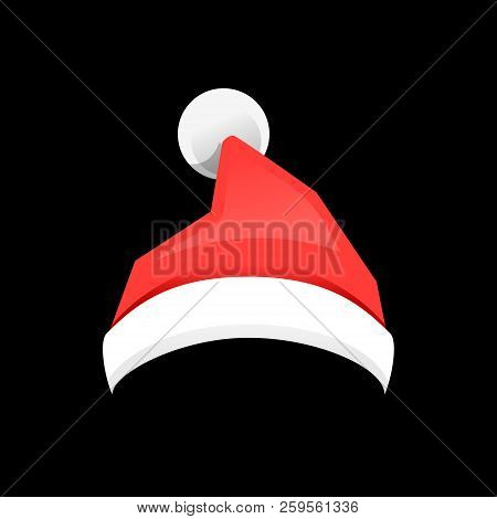fcd6e646a139b Santa Claus Red Hat Isolated On Black Background. Santa Christmas Hat  Decoration. Vector Illustratio