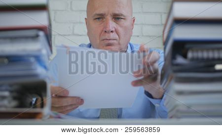 Businessperson Image In Accounting Archive Working With Documents