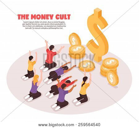 Isometric Religious Money Cult Background Composition With People Prostrating Themselves Before Coin