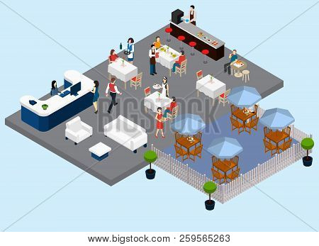 Restaurant Service Isometric Composition With Waiters And Clientele Barista Street Tables Waiting An