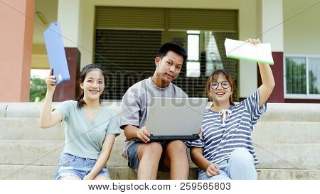 High School Students; Group Of Happy Teen Asian High School Students Outdoors; Group Of Cheerful You