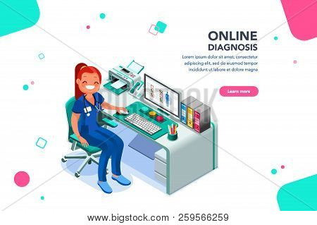 Concept With Characters, Treatment And Exam Patient, Specialist Cartoon. Examination, Diagnosis, Nur