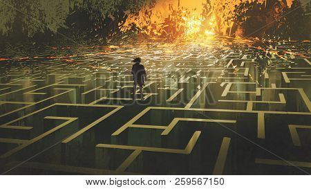 Destroyed Maze Concept Showing The Man Standing In A Burnt Labyrinth Land, Digital Art Style, Illust