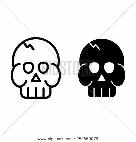 Skull Line And Glyph Icon. Death's Head Vector Illustration Isolated On White. Brainpan Outline Styl