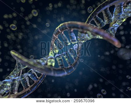 DNA chain. Abstract scientific background. Beautiful illustraion. Biotechnology, biochemistry, genetics and medicine concept. 3D rendering poster