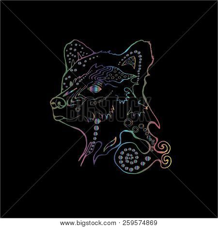 Color Illustration Of A Psychodelic Beautiful Bear. The Idea For A Tattoo