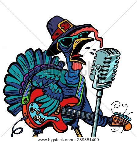 Thanksgiving Turkey Character Singer. Holiday Party. Isolate On White Background. Comic Cartoon Pop