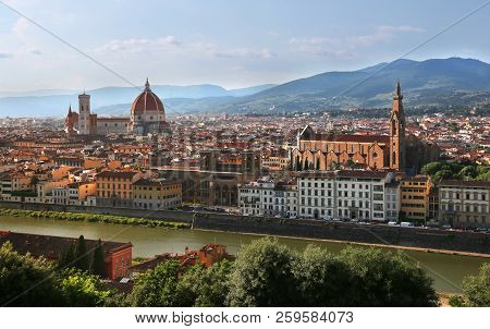 View Of Cathedral Of Santa Maria Del Fiore (florence Cathedral) And Basilica Of Santa Croce During E