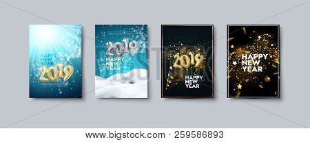 Vector Illustration Of Happy New Year Posters Or Flyers Set. Holiday Banners With Metallic 2019 Numb