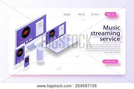 Music Industry Isometric Poster With Streaming Service Symbols Vector Illustration. Multi Devices Mu