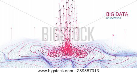 Abstract Big Data Analysis Visualization. Wave Circle With Motion Of Dots And Distortion. 3d Futuris