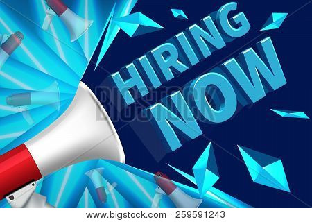 We Are Hiring Poster Or Banner Design. Job Vacancy Advertisement Concept On Blue Background. We Are