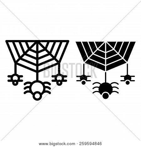 Spider On The Web Line And Glyph Icon. Cobweb With The Spider Vector Illustration Isolated On White.