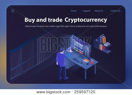 Buy And Trade Cryptocurrency. Online Bitcoin Business. Finance, Global Digital Money. Cryptocurrency