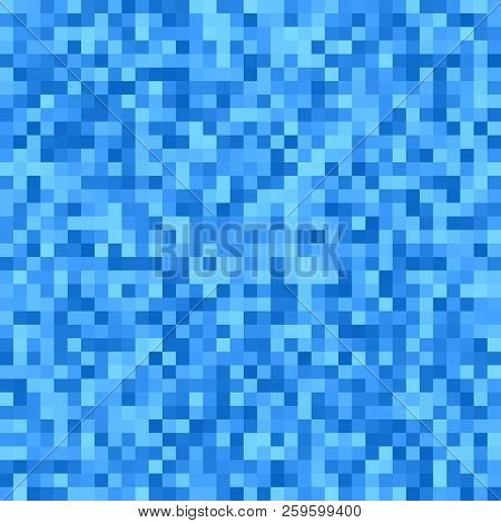 Geometrical Square Mosaic Background - Vector Design From Squares In Blue Tones
