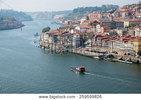 Porto, Portugal - September 16, 2018 : On The Banks Of The Douro River Of The Beautiful City Of Port