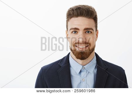 Ambitious Handsome And Young Stylish Mature Male With Beard And Big Blue Eyes Smiling Excited And Pl