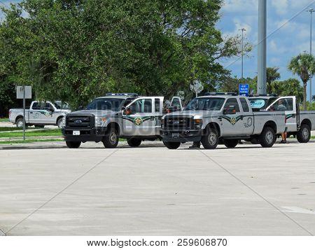 Alligator Alley I-75, Florida - September 20:  Fwc Law Enforcement Vehicles In Parking Lot Of I-75 K