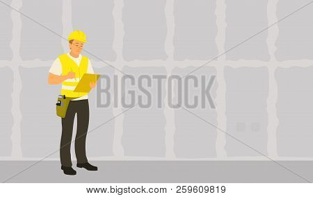 Home inspector man finished frame house building check and writing condition report poster