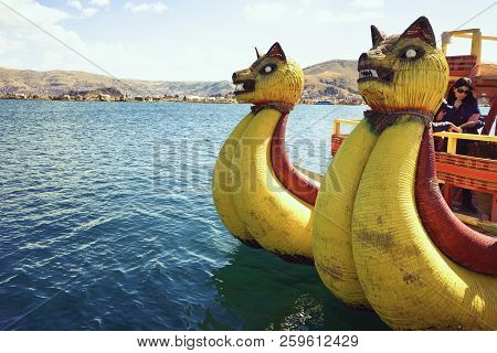 Lake Titicaca, Peru - August 17th, 2018: The Traditional Reed Boat On Lake Titicaca, A Large, Deep L