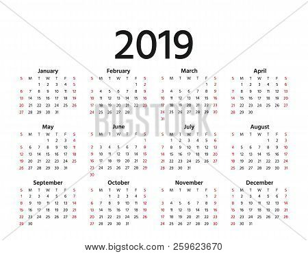2019 Calendar. Vector. Week Starts Sunday In Minimal Simple Style. Stationery 2019 Year Horizontal T