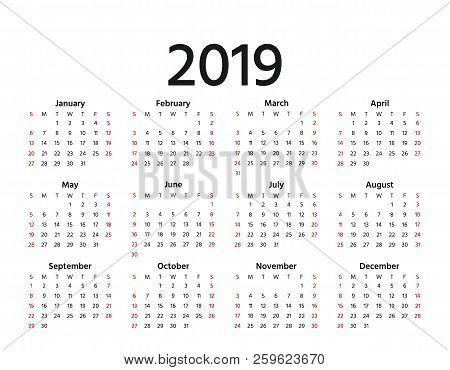 2019 Calendar. Vector. Week Starts Sunday In Minimal Simple Style. Stationery 2019 Year Horizontal T