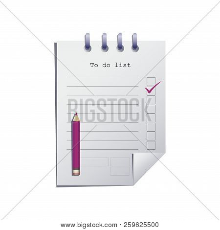 To Do List Or Planning Icon Concept. Paper Sheet With Pencil, Check Marks And Space For Text. Vector